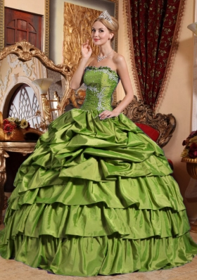 Olive Green Strapless Sweet Sixteen Dresses with Appliques and Pick-ups