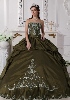 Olive Green Strapless Sweet Sixteen Dresses with Pick-ups and Embroidery