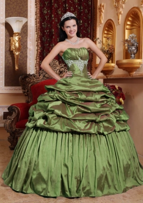 Olive Green Strapless Taffeta Appliques Quinceanera Dresses Gowns with Pick-ups
