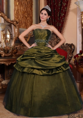 Olive Green Strapless Tulle and Taffeta Beading and Pick-ups Dresses For a Quince