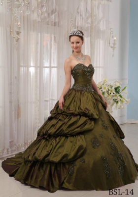 Olive Green Sweetheart Court Train Sweet 16 Dresses with Pick-ups and Appliques