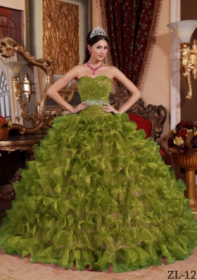 Olive Green Sweetheart Organza Quinceanera Dress with Ruffles and Beading