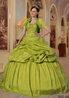Olive Green Sweetheart Taffeta Quinceanera Dress with Beading