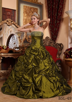Princess Strapless Sweet 16 Dresses with Beading and Pick-ups