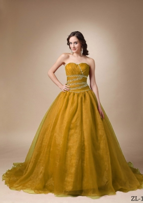 Princess Sweetheart Sweep Train Organza Beading Dress For Quinceaneras