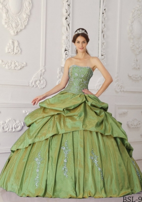 Strapless Taffeta Embroidery and Beading for Olive Green Quinceanera Gowns