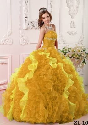 2014 Classical Gold Puffy Sweetheart Beading Quinceanera Dress with Appliques