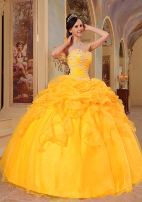 2014 Golden Puffy Sweetheart Appliques and Pick-ups Quinceanera Dress with Hand Made Flower