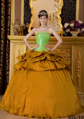 2014 Orange Puffy Strapless Appliques Taffeta Quinceanera Dress with Beading