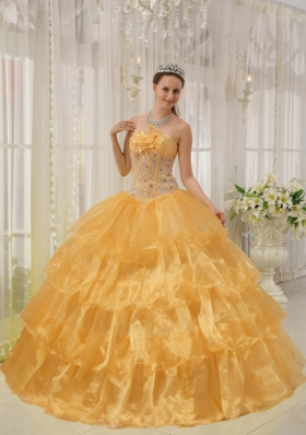 2014 Orange Puffy Strapless Beading and Hand Made Flower Quinceanera Dress with Ruffled Layers