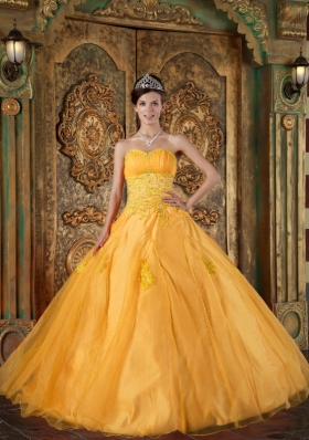 2014 Orange Quinceanera Dress with Appliques Puffy Sweetheart