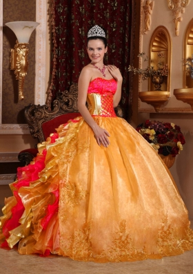 2014 Pretty Colourful Puffy Strapless Embroidery Gold Quinceanera Dress with Ruffles