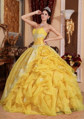 2014 Yellow Ball Gown Sweetheart Lace 2014 Quinceanera Dress with Ruffles