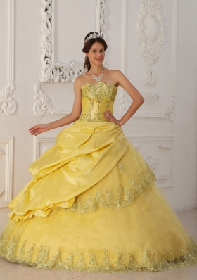 2014 Yellow Princess Sweetheart Beading Quinceanera Dress with Lace