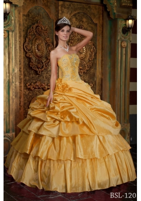 2014 Yellow Puffy Strapless Pick-ups Quinceanera Dress with Ruffled Layers