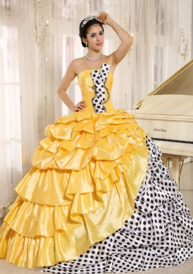 Popular Multi-color Pick-ups Strapless 2014 Quinceanera Dress