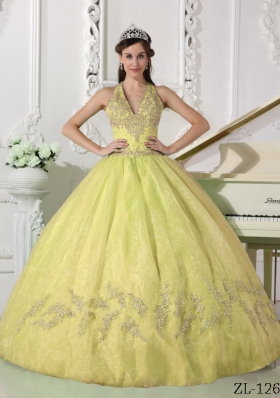 Romantic Yellow Puffy Halter Appliques Quinceanera Dress for 2014