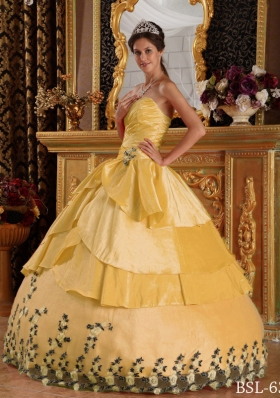 Yellow Ball Gown Sweetheart Appliques 2014 Quinceanera Dress with Beading