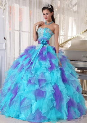2014 Colourful Appliques Quinceanera Dresses with Hand Made Flower