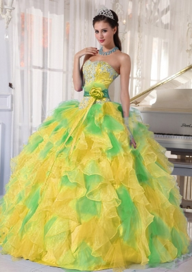 2014 Lovely Puffy Appliques and Ruffles Long Quinceanera Dresses