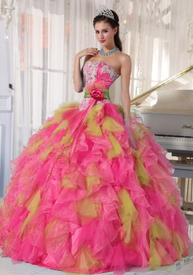 2014 Spring Puffy Appliques Sweetheart Quinceanera Dresses
