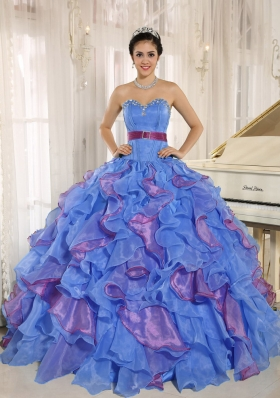 Perfect Multi-color Sweetheart Ruffles and Appliques 2014 Quinceanera Dresses