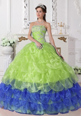 Colorful Puffy Strapless 2014 Appliques Quinceanera Dress with Ruffled Layers