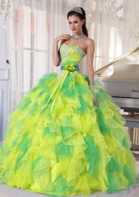 Cute Sweetheart Appliques and Ruffles 2014 Quinceanera Dresses