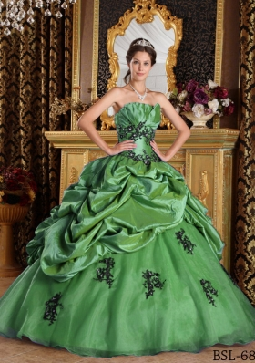 2014 Green Princess Strapless Appliques Quinceanera Dress with Pick-ups