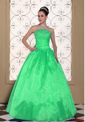 2014 Lovely Strapless Princess Quinceanera Dress with Beading