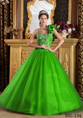 Affordable Green Princess One Shoulder with Beading for 2014 Quinceanera Dress