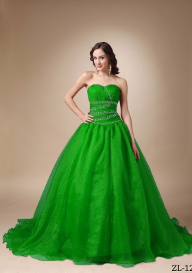 Brand New Princess Sweetheart Sweep Train with Beading Quinceanea Dress for 2014