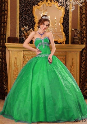 Exquisite Green Puffy Sweetheart with Beading and Appliques Quinceanera Dress for 2014