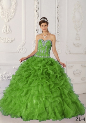 Fashionable Green Puffy Sweetheart with Appliques Quinceanera Dress for 2014