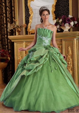 Gorgeous Green Puffy Strapless with Appliques for 2014 Quinceanera Dress