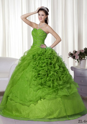 Inexpensive Puffy Sweetheart with Beading and Ruffles for 2014 Quinceanera Dress