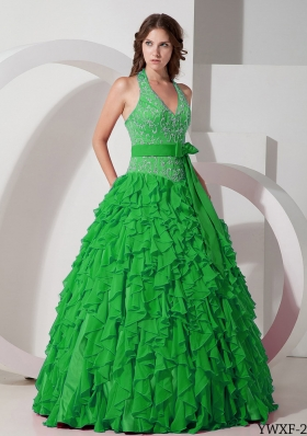 Modest Puffy Halter Ruffles and Embroidery for 2014 Quinceanera Dress with Bow