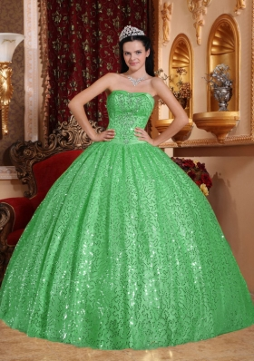 Pretty Green Puffy Sweetheart with Beading for 2014 Sequin Quinceanera Dress