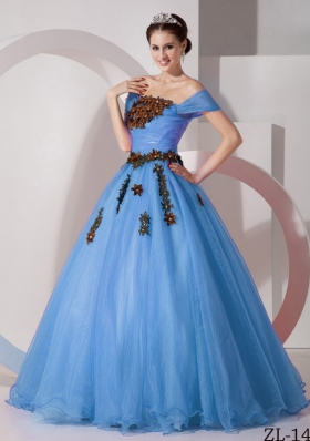 2014 Modest Princess Off The Shoulder Quinceanera Dresses with Appliques