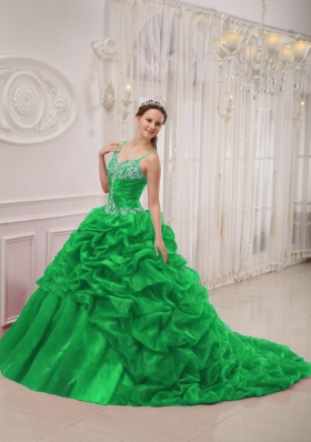 2014 New Style Green Puffy Spaghetti Straps Court Train Quinceanera Dress with Pick-ups and Beading
