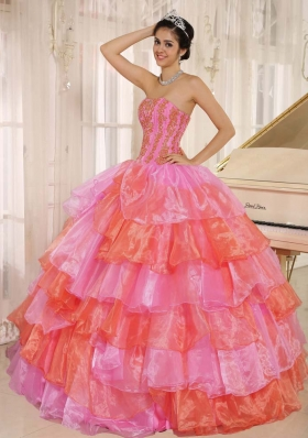 2014 Pretty Strapless Ruflfled Layers and Appliques Quinceanera Dresses