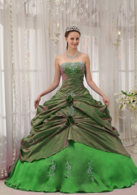 2014 Puffy Strapless Appliques with Pick-ups Decorate for Pretty Green Quinceanera Dress