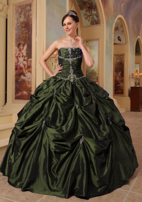2014 Puffy Strapless with Pick-ups and Beading for Olive Green Quinceanera Dress