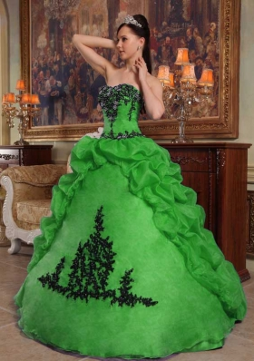 Brand New Puffy Strapless with Beading and Pick-ups for 2014 Green Quinceanera Dress