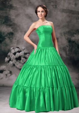 Classical Green Puffy Strapless Ruching Quinceanera Dress for 2014