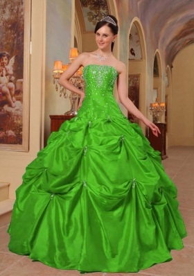 Classical Puffy Strapless with Pick-ups and Beading for 2014 Green Quinceanera Dress