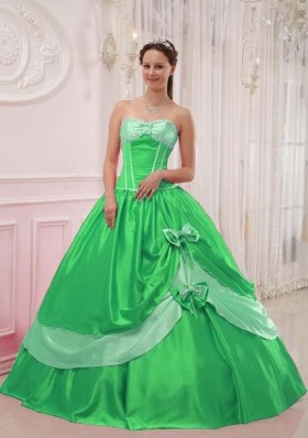 Elegant Princess Sweetheart with Appliques and Beading for 2014 Green Quinceanera Dress