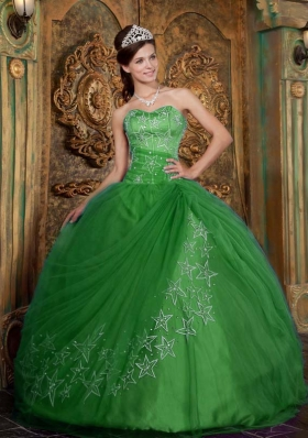 Exquisite Green Puffy Sweetheart with Beading and Appliques Tulle for 2014 Quinceanera Dress