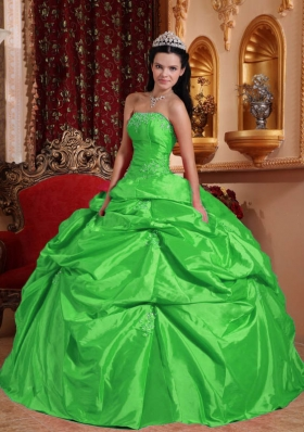 Fashionable Green Ball Gown Strapless with Beading Quinceanera Dress for 2014