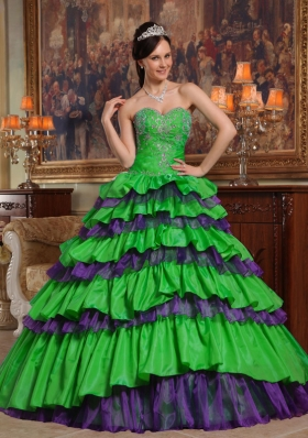 Green Puffy Sweetheart with Layers and Beading Decorate for 2014 Quinceanera Dress